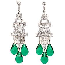 faux diamond emerald art deco style chandelier earrings made of cubic zirconia and vintage glass emerald