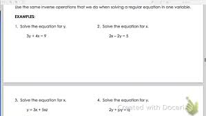 solve literal equations for a variable worksheet answers variable large size