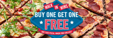 1 get 1 free on any size pizza collection only domino s pizza