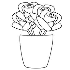 coloring sheet of rose vase to print