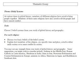 global history thematic essay belief systems global 9