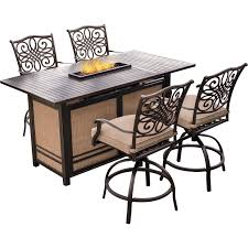 5 Piece Bar Table Set Traditions 5 Piece High Dining Bar Set In Tan With 30000 Btu Fire
