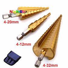 4 <b>20mm HSS</b> Steel Large Step Cone Titanium Coated Metal Drill Bit ...