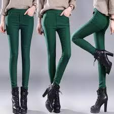 Fashiondoor Plus Size Women Plus Velvet Thicken Solid Pencil Pants Trousers Pocket Jeggings