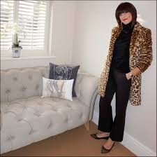 my midlife fashion zara faux fur leopard print coat primark polo neck jumper