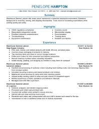 Excellent Design Ideas General Resume Examples 9 Best Labor