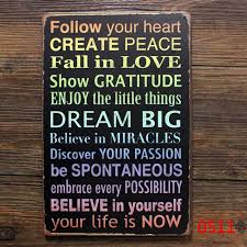 follow your heart create peace metal tin sign retro wall art bar craft gift decoration mix on home is where the heart is metal wall art with follow your heart create peace metal tin sign retro wall art bar