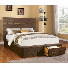 impressive rustic white wash color wooden queen size platform bed with storagejpg