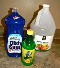 Hard Water Stain Remover- Fill spray bottle way with vinegar, add cup lemon  juice, add dish soap of choice to fill 2 inches from the top.