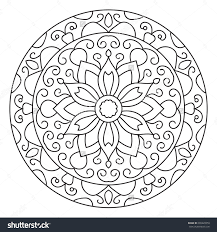 Small Picture Symmetrical Circular Pattern Mandala Coloring Page Stock Vector