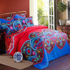 personalized peacock blue red pink and aqua moroccan medallion tribal print vintage bohemian style full queen size bedding sets