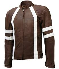 mens white detailed brown café racer leather jacket