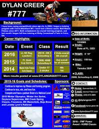 Motocross Resume Sponsorship Opportunities Mx Dylan Greer Sevte