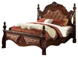 Luxor Bedroom Furniture Meridian Luxor 4 Piece Leather Poster Bedroom Set In Cherry