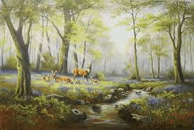 Sold Price: WENDY REEVES, 'Bluebells and Fallow Deer', oil on - Invalid  date BST