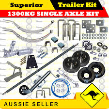 superior diy 1300kg single axle trailer kit slipper springs drum brake