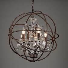 vintage rust iron cage chandeliers e14 big style crystal re led lamp 4 5 6 lighting modern for living room bedroom bar gothic chandelier entryway