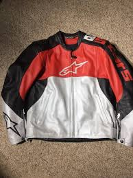 details about alpinestars stunt 2 leather jacket size 40 us 50 eur excellent red black pad