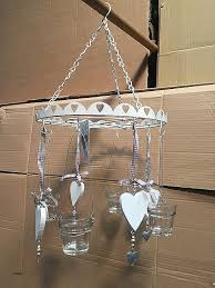 hanging candle holders bulk unique white hanging candle decor with hearts and glass 4 candle holders