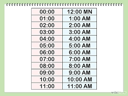 Military Time Conversion Chart Minutes And Hours 24 Hour Clock Table ...