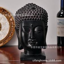 southeast style home furnishings large head ornaments creative crafts resin decorations buddha silver wooden statue large head buddha