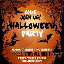 Halloween Costume Party Invitation Design Template Orange