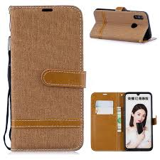 jeans cowboy denim leather wallet case for huawei p smart 2019 brown