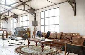 vintage round area rugs with brown leather sofa and pendant lamp for traditional home interior design ideas