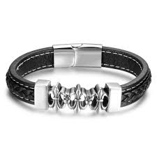men s black leather bracelet stainless steel magnetic clasp bijoux webid 646