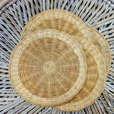 set of 4 vintage woven rattan paper
