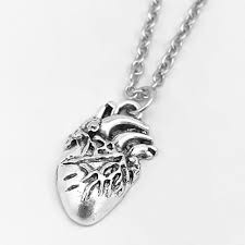 ancient silver 3d anatomical human heart pendant necklace gothic