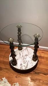 glass top cherub motif end table