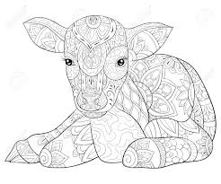 This category contains the greatest coloring relaxing pages for adults. A Cute Calf With Ornaments Image For Relaxing Activity A Coloring Royalty Free Cliparts Vectors And Stock Illustration Image 114296883