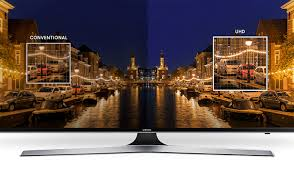 samsung 75 4k. as compared to a full hd tv. dramatization for illustrative purposes only. visit an authorized retailer true-to-life comparison. 4k colour drive samsung 75 4k