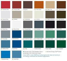 Metal Building Colors Chart Standing Seam Metal Roof Color Chart Metal Roof Colors