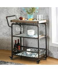 industrial antique furniture. Furniture Of America Herman Industrial Antique Black 2-shelf Serving Cart ( Black)