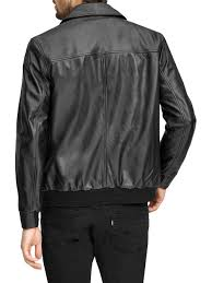 Andrew Marc Vaughn Leather Bomber Jacket in Black for Men - Lyst