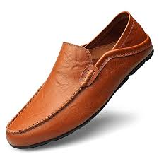 big size 37 47 summer genuine leather shoes men casual moccasins red brown