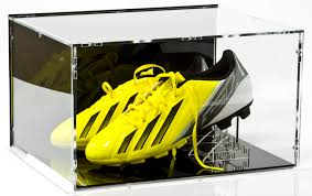 Football Stands Display Double Football Boot Shoe Display Case with black base black 88