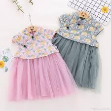Kids Designer 2019 Kids Designer Clothes 2019 Fashion Kids Summer Girl Dress Girl Print Short Sleeve With Buttons Ethnic Style Dress Children Girls Party Dress From