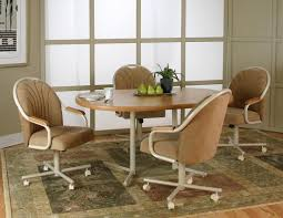 fabulous dining table with caster chairs 3 nice 2 colossal kitchen rolling gigantic swivel chair new low d