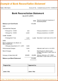 Bank Reconciliation Statement Template bank reconciliation form sop example 1