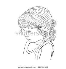 Hand Drawn Cute Girl Face With Lowered Eyes Vector Sketch Isolated