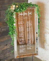Calligraphy Wedding Seating Chart Mirror Seating Chart Wedding Sign Floral Garland Hand
