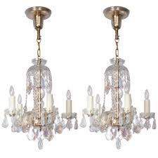pair of bohemian crystal chandeliers p a pair of mid century crystal chandeliers