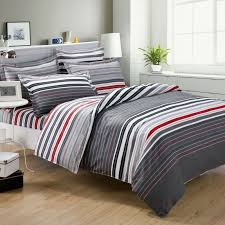 grey and red stripes printing 4pc bedding set queen bed duvet quilt comforter covers