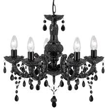 chandelier marie therese black 5 light chandelier with acrylic glass drops