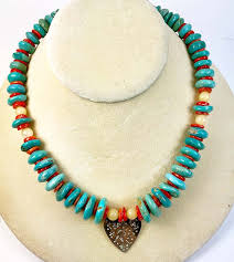 turquoise rondelle necklace c honey jade accents silver heart pendant