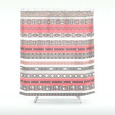 print peach rose salmon grey shower curtain and gray
