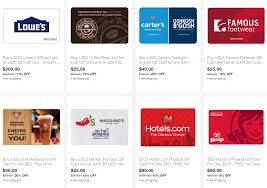 ebay save on gift cards for lowe s carter s hotels bj s